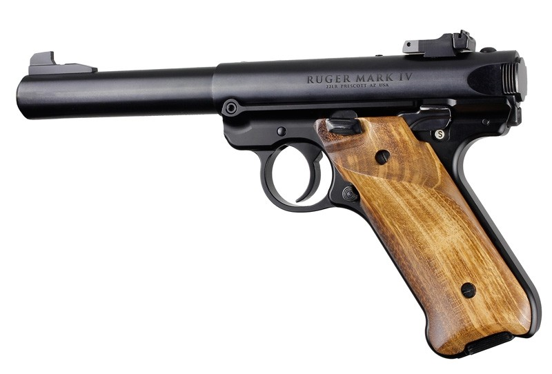 Ruger MK IV: Goncalo Alves Smooth Hardwood Grip with Right Hand Thumb Rest