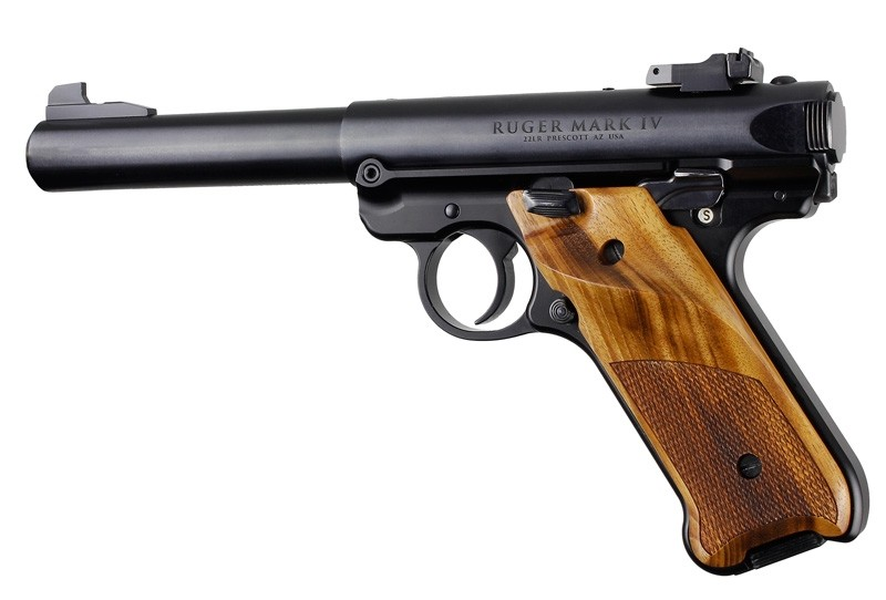 Ruger MK IV: Goncalo Alves Checkered Hardwood Grip with Right Hand Thumb Rest
