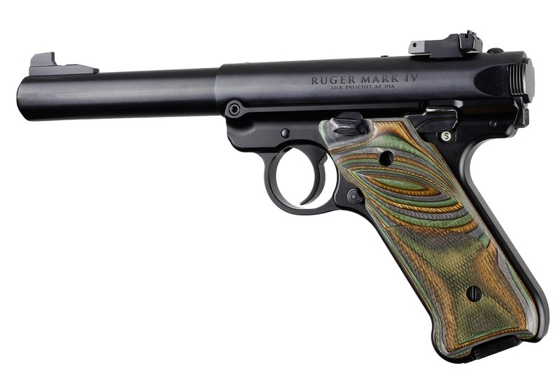 Ruger MK IV: Lamo Camo Laminate Checkered Hardwood Grip with Right Hand Thumb Rest