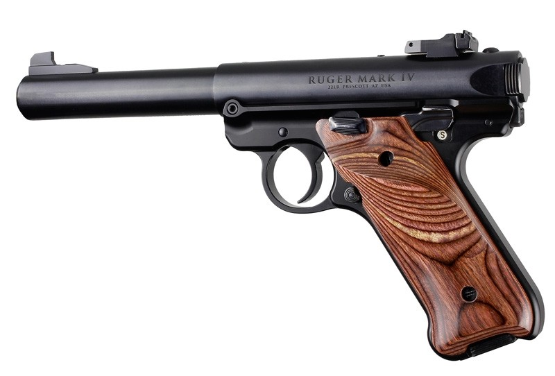 Ruger MK IV: Rosewood Laminate Smooth Hardwood Grip with Right Hand Thumb Rest