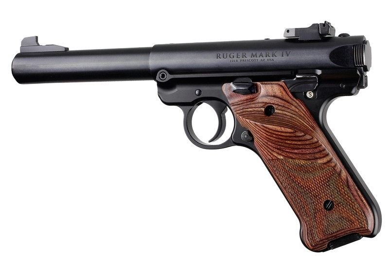 Ruger MK IV: Rosewood Laminate Checkered Hardwood Grip with Right Hand Thumb Rest