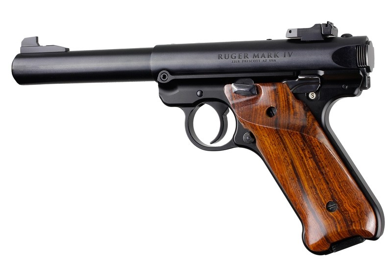 Ruger MK IV: Cocobolo Smooth Hardwood Grip with Right Hand Thumb Rest