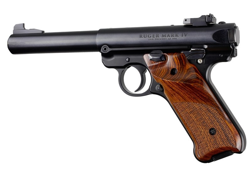 Ruger MK IV: Cocobolo Checkered Hardwood Grip with Right Hand Thumb Rest