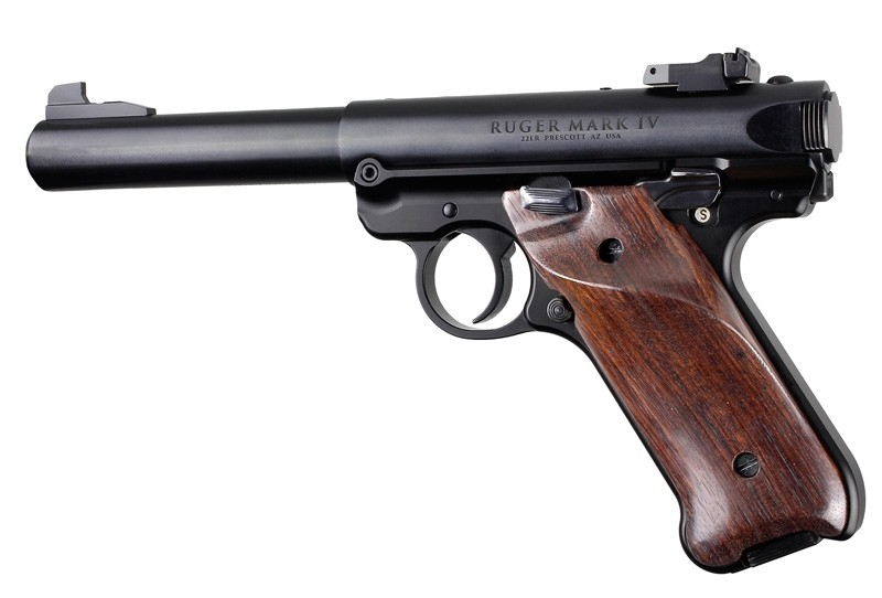 Ruger MK IV: Rosewood Smooth Hardwood Grip with Right Hand Thumb Rest