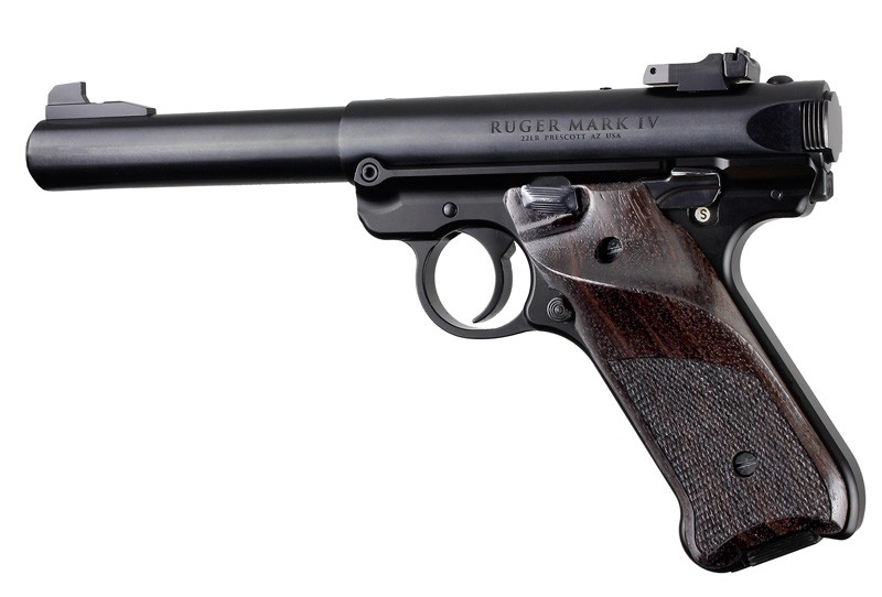 Ruger MK IV: Rosewood Checkered Hardwood Grip with Right Hand Thumb Rest