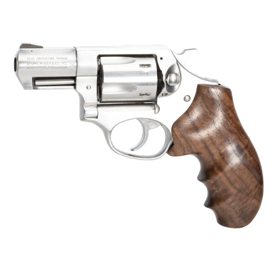 Ruger SP101: Smooth Hardwood Grip with Finger Grooves - Walnut Burl