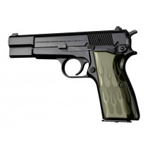 Browning Hi-Power Flames Aluminum - Green Anodize