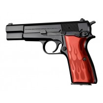 Browning Hi-Power Flames Aluminum - Red Anodize