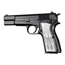 Browning Hi-Power Flames Aluminum - Clear Anodize
