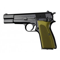 Browning Hi-Power Checkered Aluminum - Matte Green Anodized