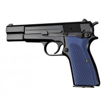 Browning Hi-Power Checkered Aluminum - Matte Blue Anodized