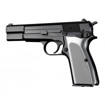 Browning Hi-Power Checkered Aluminum - Brushed Gloss Clear Anodized