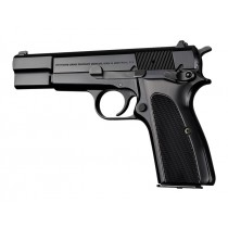 Browning Hi-Power Checkered Aluminum - Brushed Gloss Black Anodized