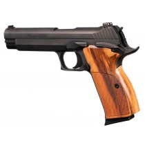 SIG P210 American: Checkered Hardwood Grip - Goncalo Alves