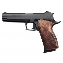 SIG P210 American: Checkered Hardwood Grip - Walnut