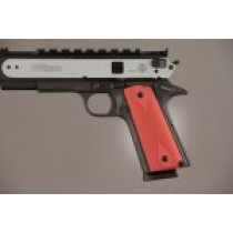 1911 Govt. Model 3/16 Thin Checkered Aluminum - Matte Red Anodized