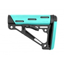 AR-15/M-16 OverMolded Collapsible Buttstock - Fits Mil-Spec Buffer Tube - Aqua Rubber