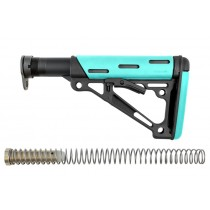 AR-15 / M16: OverMolded Collapsible Buttstock Assembly (Includes Mil-Spec Buffer Tube & Hardware) - Aqua