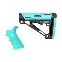 AR-15 / M16 Kit: OverMolded Beavertail Grip & Collapsible Buttstock (Fits Commercial Buffer Tube) - Aqua