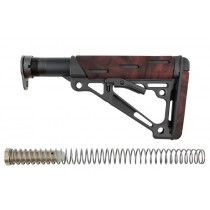AR-15 / M-16: OverMolded Collapsible Buttstock Assembly (Includes Mil-Spec Buffer Tube & Hardware) - Red Lava
