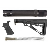 AR-15 / M16 Kit: OverMolded Beavertail Grip, Rifle Length Forend with Accessories, Collapsible Buttstock (Includes Mil-Spec Buffer Tube & Hardware) - Black