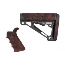 AR-15 / M16 Kit: OverMolded Beavertail Grip & Collapsible Buttstock (Fits Mil-Spec Buffer Tube) - Red Lava