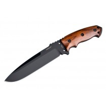 "EX-F01 7"" Fixed Drop Point Blade A-2 Black Kote Black Sheath - Wood Cocobolo Scales"