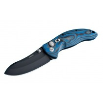 "EX-04 Manual Folder: 3.5"" Black Cerakote Upswept Blade, Blue Lava G-Mascus G10 Frame"