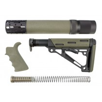 AR-15 / M16 Kit: OverMolded Beavertail Grip, Rifle Length Forend with Accessories, Collapsible Buttstock (Includes Mil-Spec Buffer Tube & Hardware) - OD Green