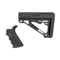 AR-15 / M16 Kit: OverMolded Beavertail Grip & Collapsible Buttstock (Fits Mil-Spec Buffer Tube) - Black