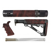 AR-15 / M16 Kit: OverMolded Beavertail Grip, Rifle Length Forend with Accessories, Collapsible Buttstock (Includes Mil-Spec Buffer Tube & Hardware) - Red Lava