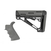 AR-15 / M16 Kit: OverMolded Rubber Beavertail Grip & Collapsible Buttstock (Fits Commercial Buffer Tube) - Slate Grey