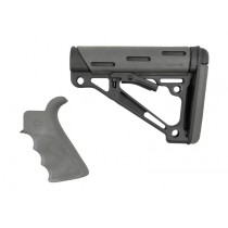 AR-15 / M16 Kit: OverMolded Rubber Beavertail Grip & Collapsible Buttstock (Fits Mil-Spec Buffer Tube) - Slate Grey