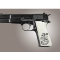 Browning Hi-Power Engraved Ivory Polymer - Navy insignia