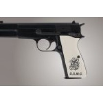 Browning Hi-Power Engraved Ivory Polymer - USMC Emblem and Bulldog