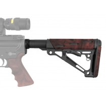 AR-15/M-16 OverMolded Collapsible Buttstock Assembly - Includes Mil-Spec Buffer Tube and Hardware - Red Lava Rubber