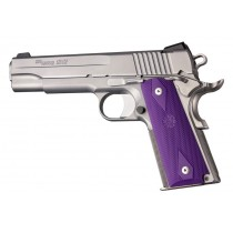 1911 Govt. Model: Checkered Rubber Grip Panels with Diamonds - Purple