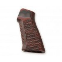 AR15 / M16 No Finger Groove Piranha Grip G10 - G-Mascus Red Lava