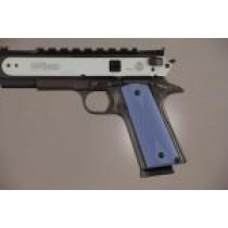 1911 Govt. Model 3/16 Thin Checkered Aluminum - Matte Blue Anodized