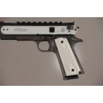 1911 Govt. Model 3/16 Thin Checkered Aluminum - Matte Clear Anodized