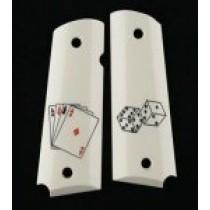 1911 Officers Model Scrimshaw Ivory Polymer - Aces