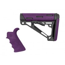 AR-15 / M16 Kit: OverMolded Beavertail Grip & Collapsible Buttstock (Fits Mil-Spec Buffer Tube) - Purple