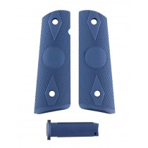 1911 Govt. Aluminum Magrip Kit - Checkered Flat Mainspring Matte Blue W/ Engraving Pad