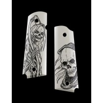 45026 Factory Second- 1911 Govt. Model Scrimshaw Ivory Polymer - Grim Reaper Bust and Body - Ambi-Cut