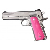 1911 Govt. Model: Checkered Rubber Grip Panels with Diamonds - Pink