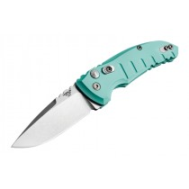 "A01-Microswitch Folder: 2.75"" Tumbled Drop Point Blade, Matte Aquamarine Aluminum Frame"