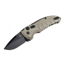 "A01-Microswitch 1.95"" Folder Drop Point Blade Black Finish Alum Frame - Matte Flat Dark Earth"