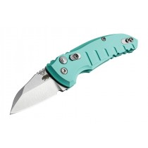 "A01-Microswitch 1.95"" Folder Wharncliffe Blade Tumble Finish Alum Frame - Aquamarine"
