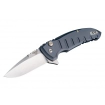 "X1-Microflip 2.75"" Folder Drop Point Blade Tumble Finish Alum Frame - Matte Grey"