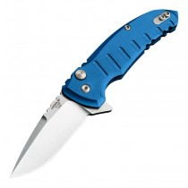 "X1-MicroFlip Manual Flipper (RSR Exclusive): 2.75"" Drop Point Blade - Tumbled Finish, Matte Blue Aluminum Frame"